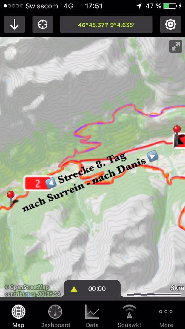 Screenshot vom iPhonedisplay. Kartenausschnitt zeigt heutige Wanderstrecke.