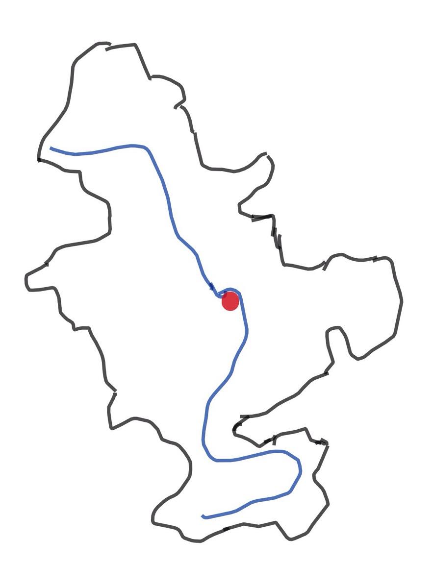 Skizze des Flusssystems Rhein mit ungefährem Mittelpunkt nahe Mainz