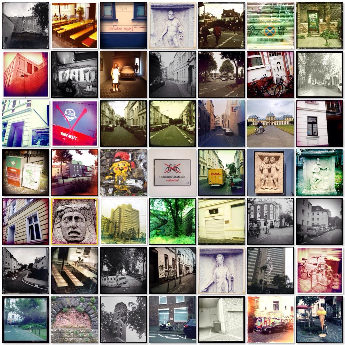 Bildcollage mit 49 Bonn-Szenen, quadratisch bis 1,2/1,2m